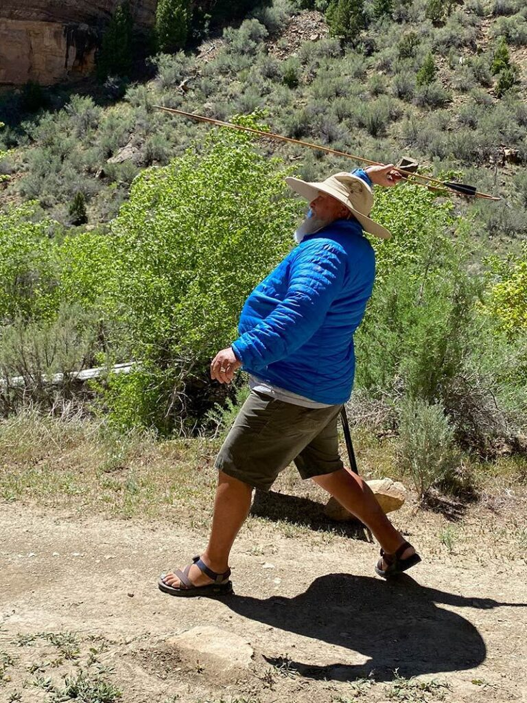 PaleoWest guest leaning how to throw an Atlatl
